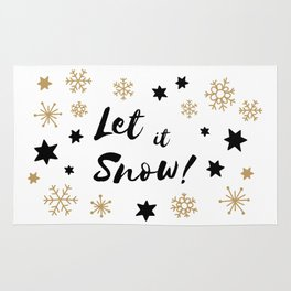Let it Snow! Calligraphy Christmas, Stars and Snowflakes Rug