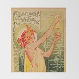 Classic French art nouveau Absinthe Robette Throw Blanket