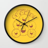 cookies Wall Clocks featuring Cookies by Artificial primate