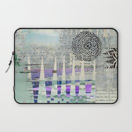Blue Grey Abstract Art Collage Laptop Sleeve