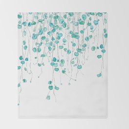 string of hearts watercolor Throw Blanket