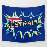 australia Wall Tapestries featuring Australia by mailboxdisco