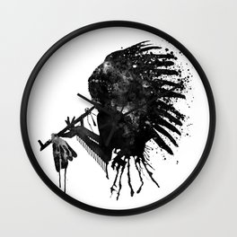 Indian with Headdress Black and White Silhouette Wall Clock