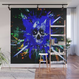 Splatter Skull (blue) Wall Mural