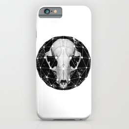 geometric raccoon skull iPhone Case