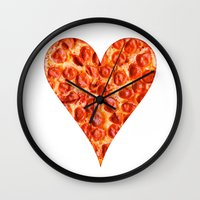 pizza Wall Clocks featuring PIZZA by Good Sense