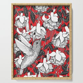 Hummingbird and fuchsia, red background Serving Tray
