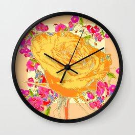CORAL COLOR ART &  ORANGE ROSE PINK  FLOWERS  DESIGN Wall Clock