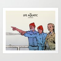 the life aquatic Art Prints featuring Life Aquatic by Matt Byle