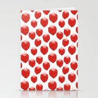 vegetarian Stationery Cards featuring Strawberries - trendy fresh tropical fruit vegan vegetarian juice juicing cleanse by CharlotteWinter