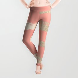 Simply Brushed Stripe in White Gold Sands on Salmon Pink Leggings