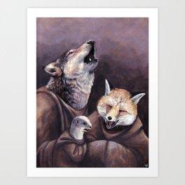 Le loup, le renard et la belette Art Print
