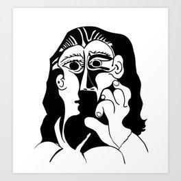 Picasso Woman's head #9 black line Art Print