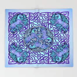 7 Blue Celtic Horses Throw Blanket
