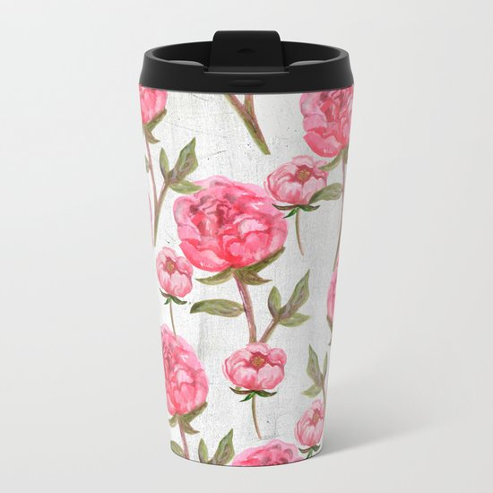 Pink Peonies On White Chalkboard Metal Travel Mug