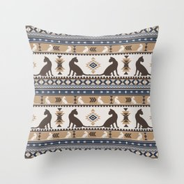 Boho cats | Oriental shorthair tan Throw Pillow