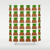 pineapples Shower Curtains featuring Pineapples by Justbyjulie