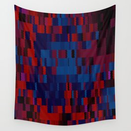Red and Blue Digi Fractal Wall Tapestry