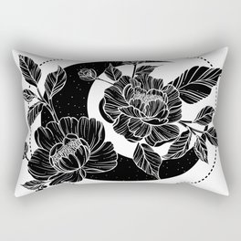 Moon with peony flowers. Beautiful illustration with moon and flowers. Rectangular Pillow
