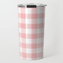 Coral Checker Gingham Plaid Travel Mug