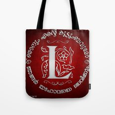 Joshua 24:15 - (Silver on Red) Monogram L Tote Bag