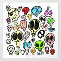 Collection of Colourful Cartoon Skulls by shellystill