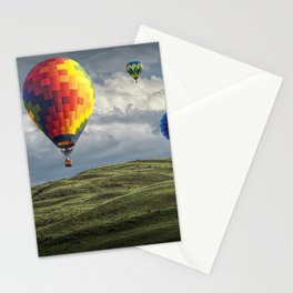 Hot Air Balloons over Green Fields Stationery Cards