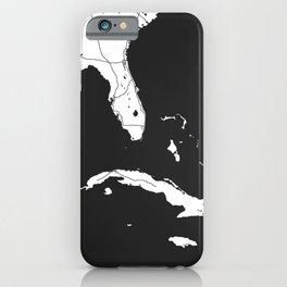 Florida, Cuba, Dominican Republic, Haiti, Jamaica Map iPhone Case