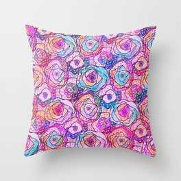 Watercolour & Rainbow Ink Flowers , Colorful Floral Painting Throw Pillow