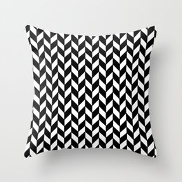Black Herringbone - Baby Stimulation Pattern Throw Pillow