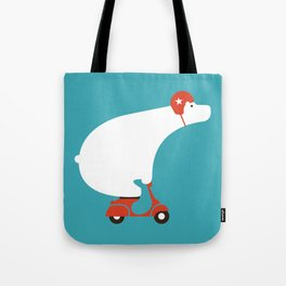 Polar bear on scooter Tote Bag