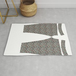 Coral and mint floral Rug