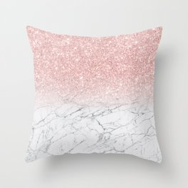Elegant Chic Pink Glitter Gray White Marble Gradient Throw Pillow