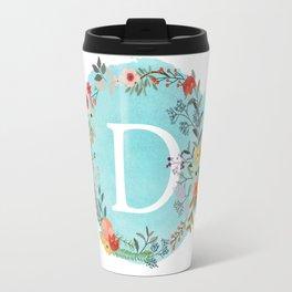 Personalized Monogram Initial Letter D Blue Watercolor Flower Wreath Artwork Travel Mug