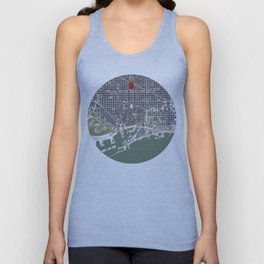 Barcelona city map engraving Unisex Tank Top