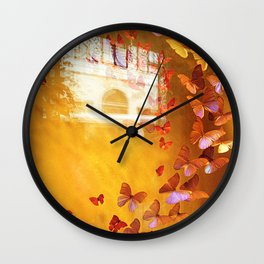 Butterflies in Window Wall Clock