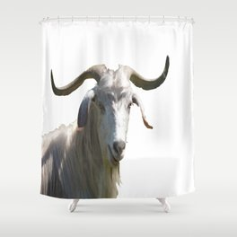 Portrait of a Horned Goat Grazing Vector Shower Curtain