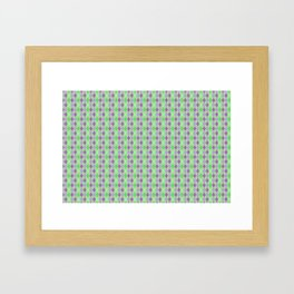 Argyle Diamond Shape Plaid Pattern Dark Purple, Light Purple, Green and Pastel Green Polka Dots Framed Art Print