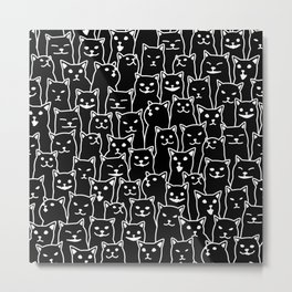 Funny Cat Pattern organic style minimalist on black background Metal Print