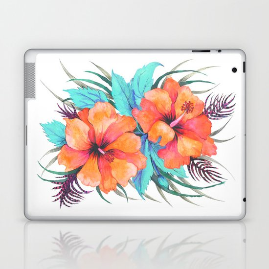 TROPICAL FLOWER {orange hibiscus}  Laptop & iPad Skin