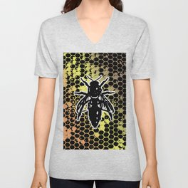Geometrical Honeycomb & Bee Unisex V-Neck