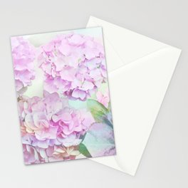Painterly Hydrangea flowers on a pastel background Stationery Cards