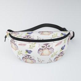Watercolor Owl Pattern Fanny Pack