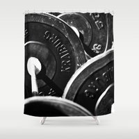 crossfit Shower Curtains featuring Plates by SalAnthony