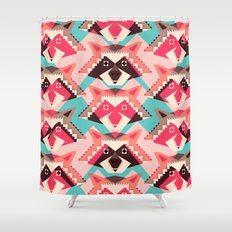 Raccoons and hearts Shower Curtain