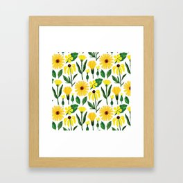Watercolor sunshine yellow green daisies floral Framed Art Print