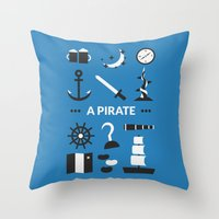 ouat Throw Pillows featuring OUAT - A Pirate by Redel Bautista
