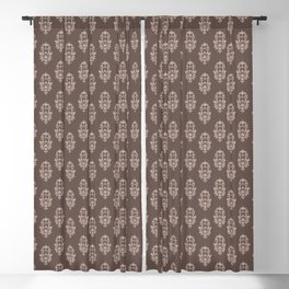 baroque pattern wallpaper damask seamless coffee and cream Blackout Curtain