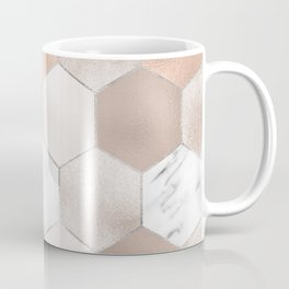 Rose pearl and marble hexagons Coffee Mug