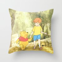 winnie the pooh Throw Pillows featuring WINNIE THE POOH by DisPrints